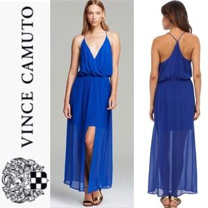 Vince Camuto blue chiffon overlay maxi dress, M